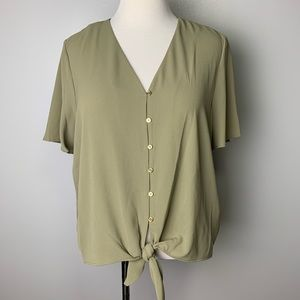 Michael kors | army green blouse with gold buttons